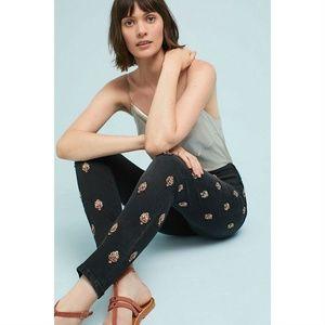 [Anthropologie] High Rise Embellished Skinny Jeans